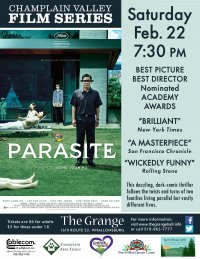 Champlain Valley Film Series Presents PARASITE on Saturday Feb. 22