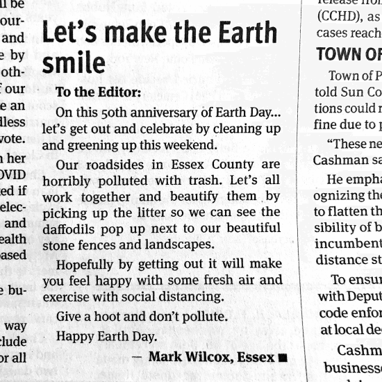 Sunny Earth Day 2020 (Credit: Sun Community News)