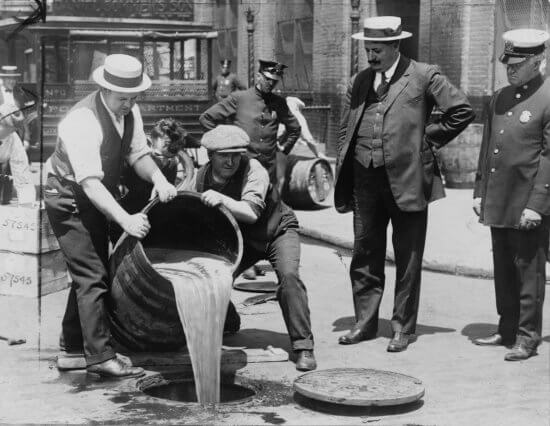 Dumping beer during Prohibition (Credit: Library of Congress)