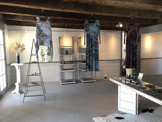 Week 1 in the storefront at 2748 Lakeshore Rd. Apparel dye work by Cheryl Sprang. Body line by Notes of Balance.