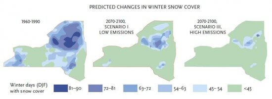 Predicted changes in snow cover in the Adirondacks.