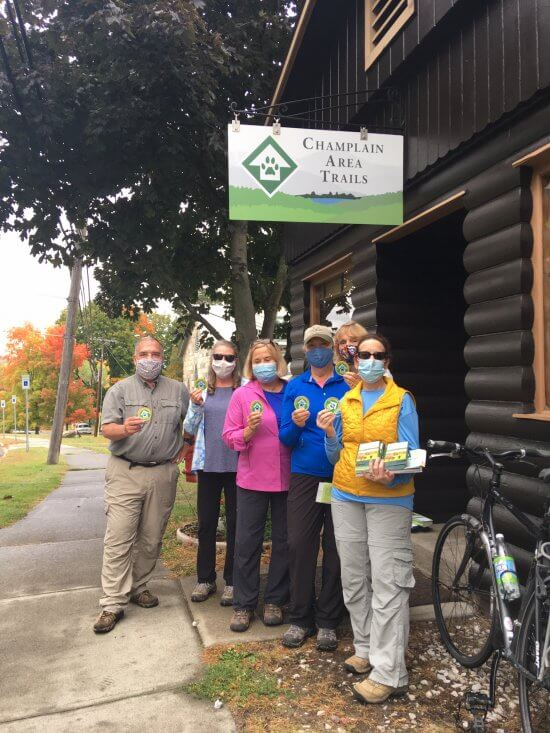 Adirondack Mountain Club Cold River Chapter members picking up their patches at the CATS Westport office after participating in the 2020 Grand Challenge. (Credit: CATS)