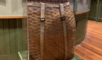 Pack basket of Jim Goodwin on display in the Hiking Exhibit