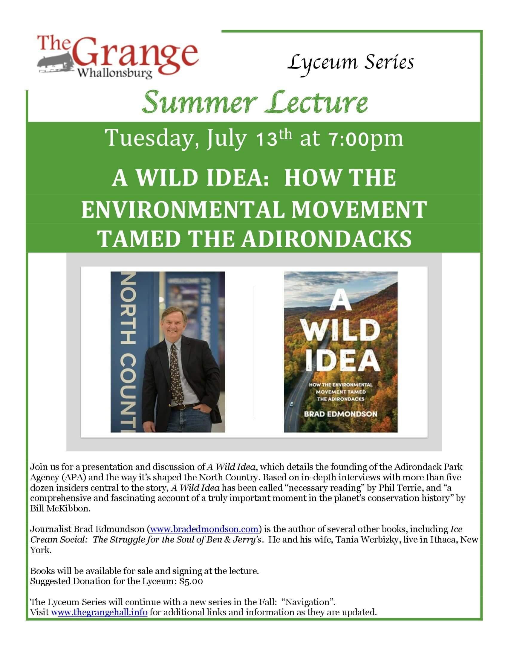 Grange Summer 2021 Lecture Flyer
